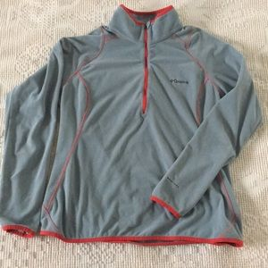 Cool gray Columbia quarter zip with coral trim